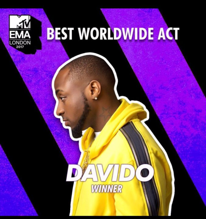 Davido Wins Best Worldwide Act At The 2017 MTV EMA