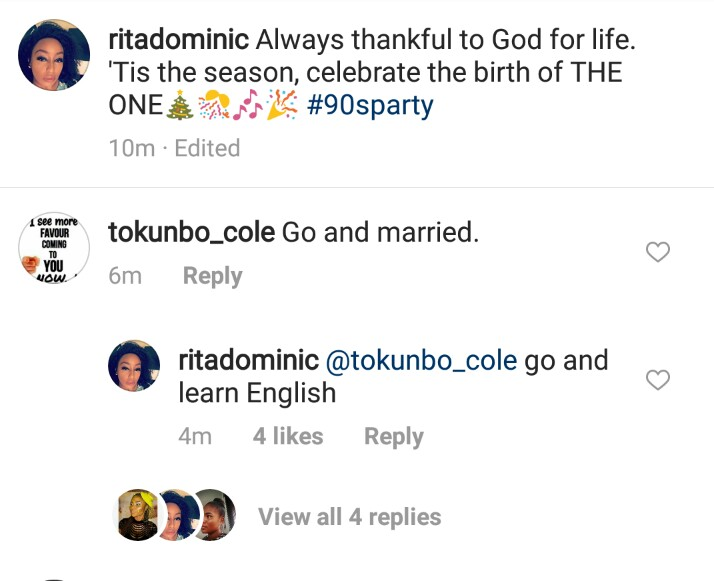 Rita Dominic's Reply To Follower Who Told Her To 'Go And Marry' Is Epic
