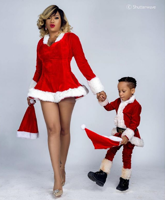 Sexy Santa! Toyin Lawani Looks Hot With Her Kids In Christmas Shoot