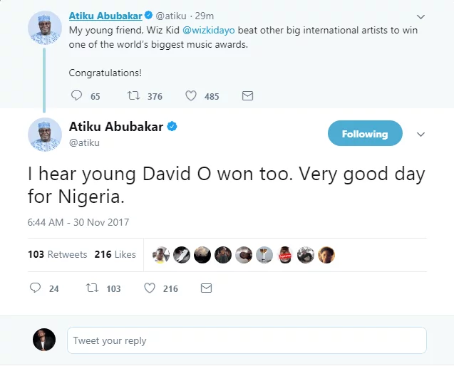 Former vice president Atiku congratulates Wizkid and Davido on their Mobo Award wins
