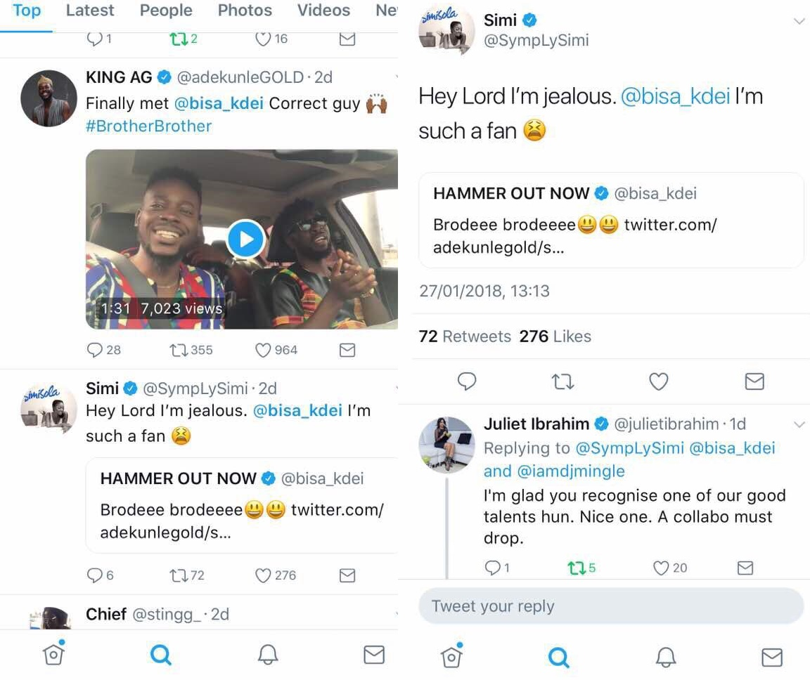 "Adekunle Gold, Juliet Ibrahim, Simi excited about Bisa Kdei's ""Brother Brother"""