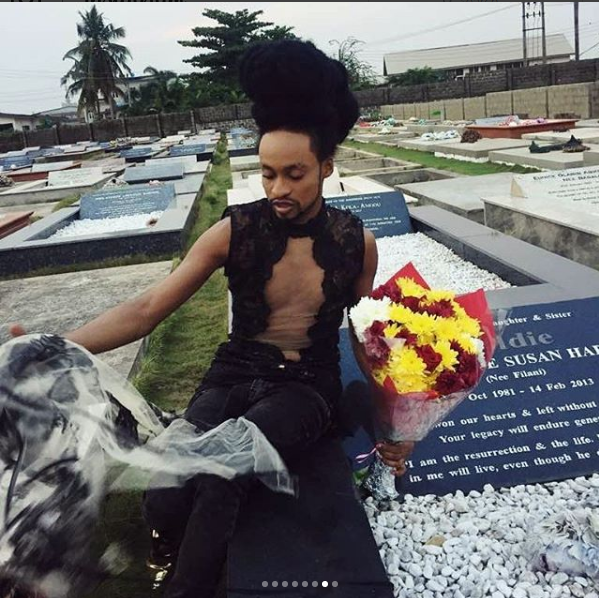 Media Personality, Denrele Edun Visits Late Goldie Harvey's Grave Wearing Her Dress