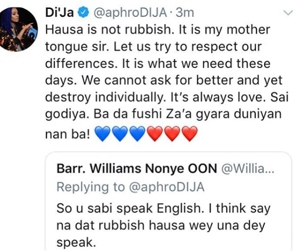 This Is How Di'ja Responded To A Tweet That Called Hausa 'Rubbish'