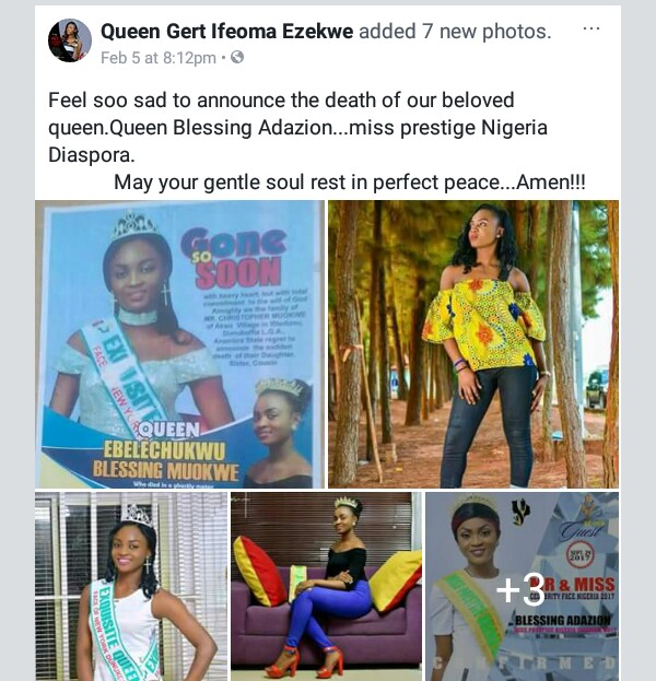 23-Year-Old Miss Prestige Nigeria Diaspora, Blessing Moukwe Dies In Car Accident