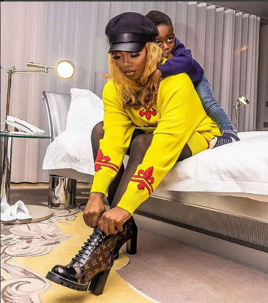 Cute Photos Of Tiwa Savage And Son In Matching Outfit