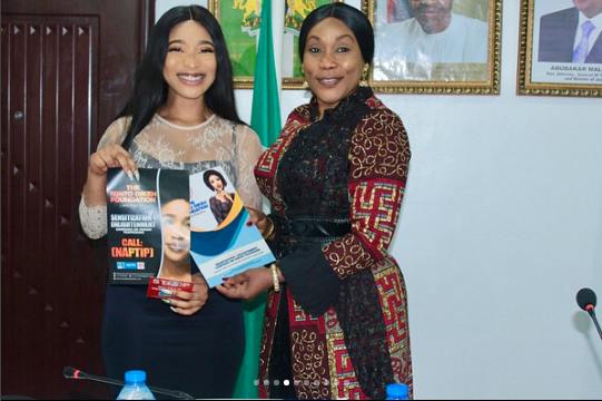 Tonto Dikeh Begins Her Fight Against Human Trafficking As She Becomes Ambassador For National Agency for the Prohibition of Traffic in Persons