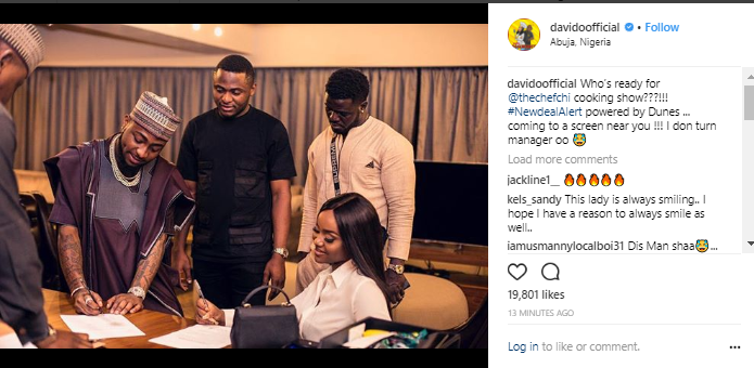 Davido And Chef Chi Signs New Cooking Show Deal
