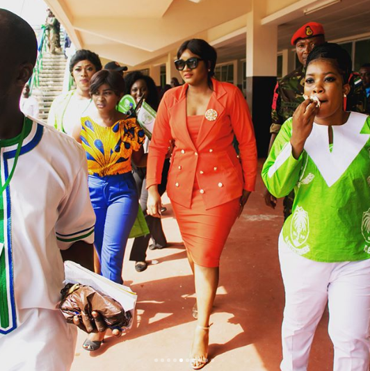 Crowd Comes Out To Receive Omotola Jalade Ekeinde During Her Visit To Sierra Leone