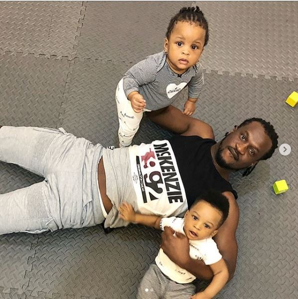 Cute Photos of Paul Okoye Playing With His Twins