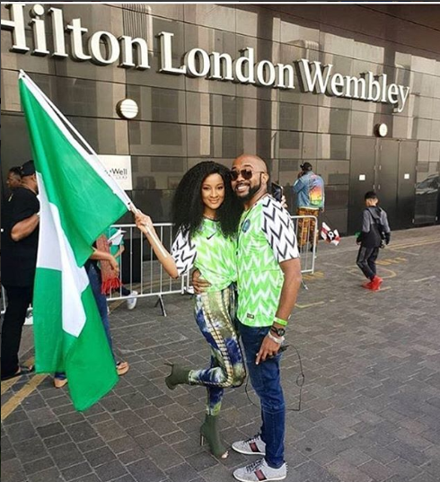 Banky W And Adesua Etomi Step Out In Style To Support Nigeria's Friendly Match Against England