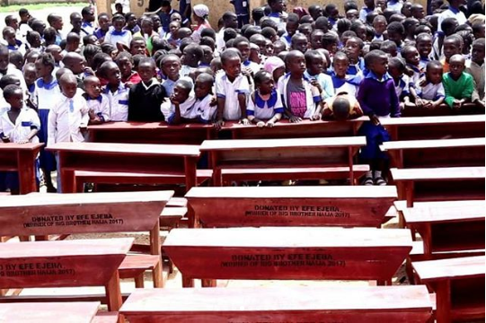 "BB Naija 2017 Winner ""Efe"" Gives Back To The Society as he donated desks to two primary schools in Jos."
