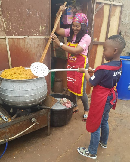 Mercy Aigbe And Her Son Juwon Spend His Birthday Cooking Catering To The Needy