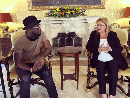 Photos From Peter Okoye's Meeting With The President Of Malta, Marie-Louise Coleiro Preca