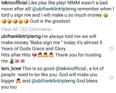 Tekno Shows Nothing But Love For The Man Who Gave Him A Chance, Ubi Franklin
