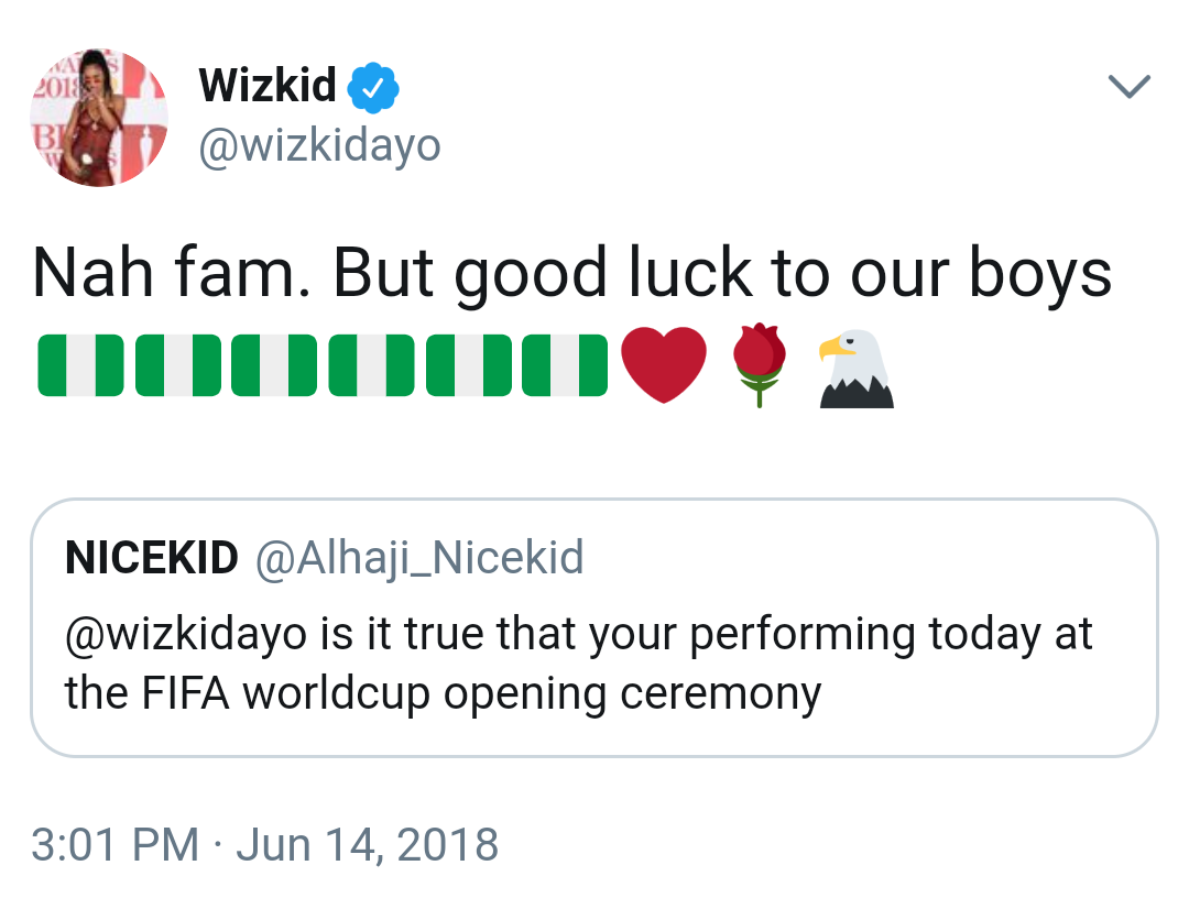 Wizkid Debunks Rumours He Will Perform At World Cup Opening Ceremony