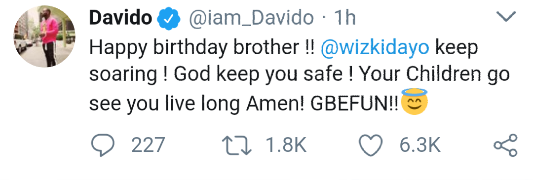 Davido Wishes Starboy Wizkid Happy Birthday