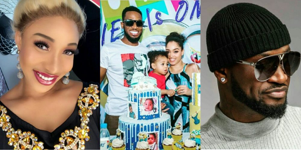 Fans Blast Peter Okoye, Tonto Dikeh Over Their Condolence Message To D'Banj