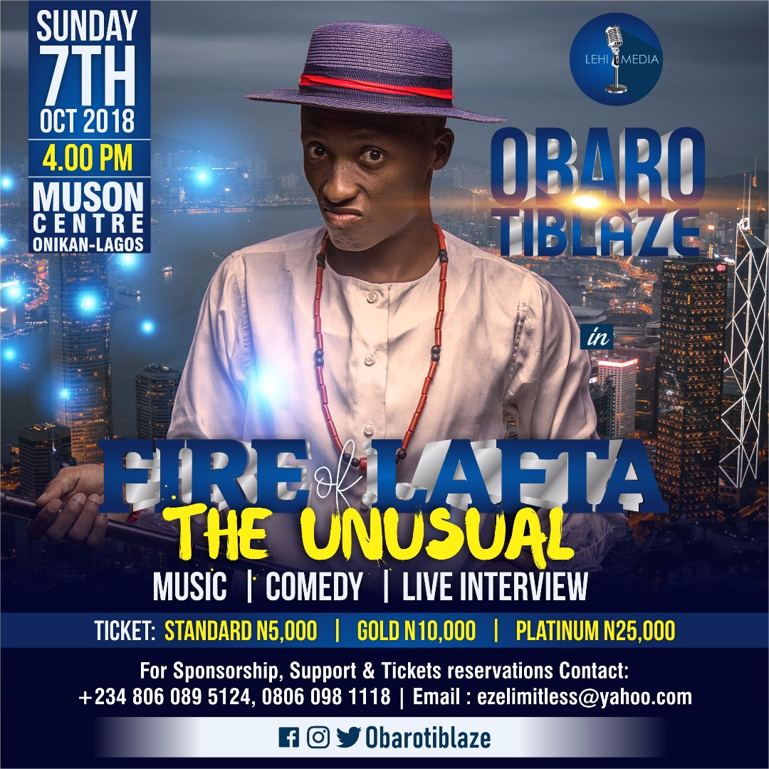 "Obarotiblaze set to hold the 4th edition of #FireOfLafta ""The Unusual"""