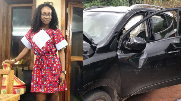BBNaija's Anto Survives Car Crash, Shows Off Her Wrecked Car