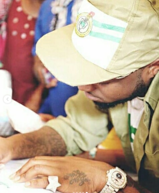 Commotion In Lagos NYSC Camp As Davido Resumes For Youth Service