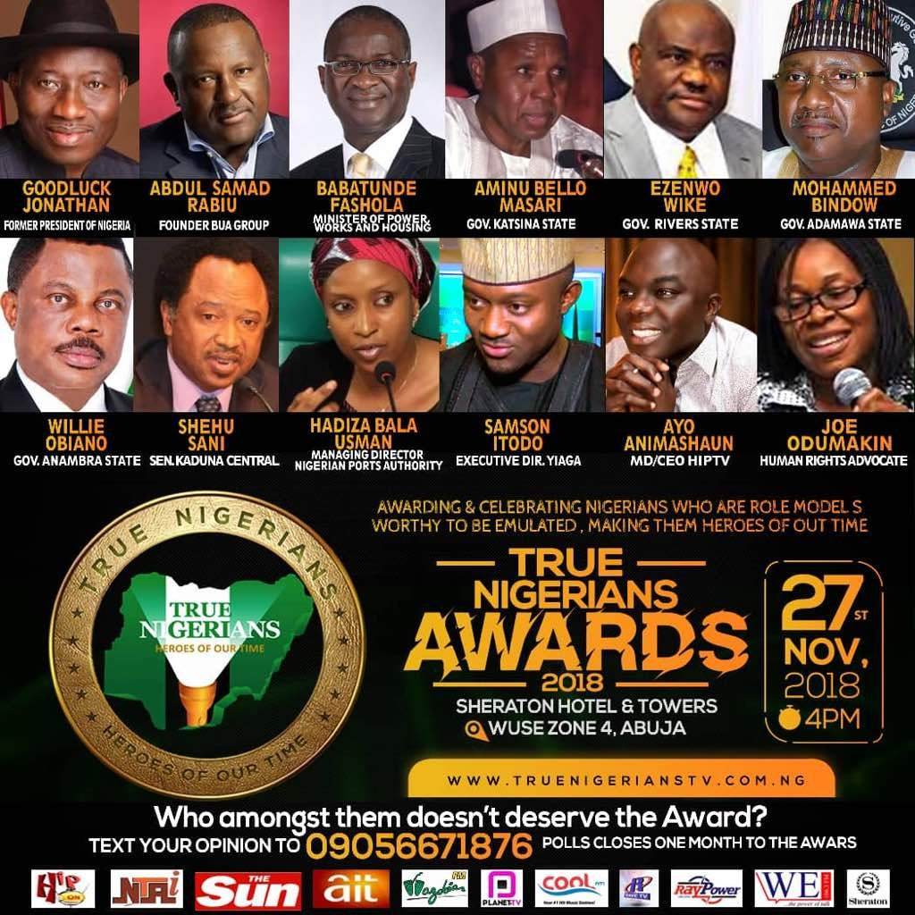 True Nigerians Awards 2018 set to reward legacies & heroes of our time.