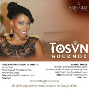 Tosyn Bucknor's Funeral Arrangements Released