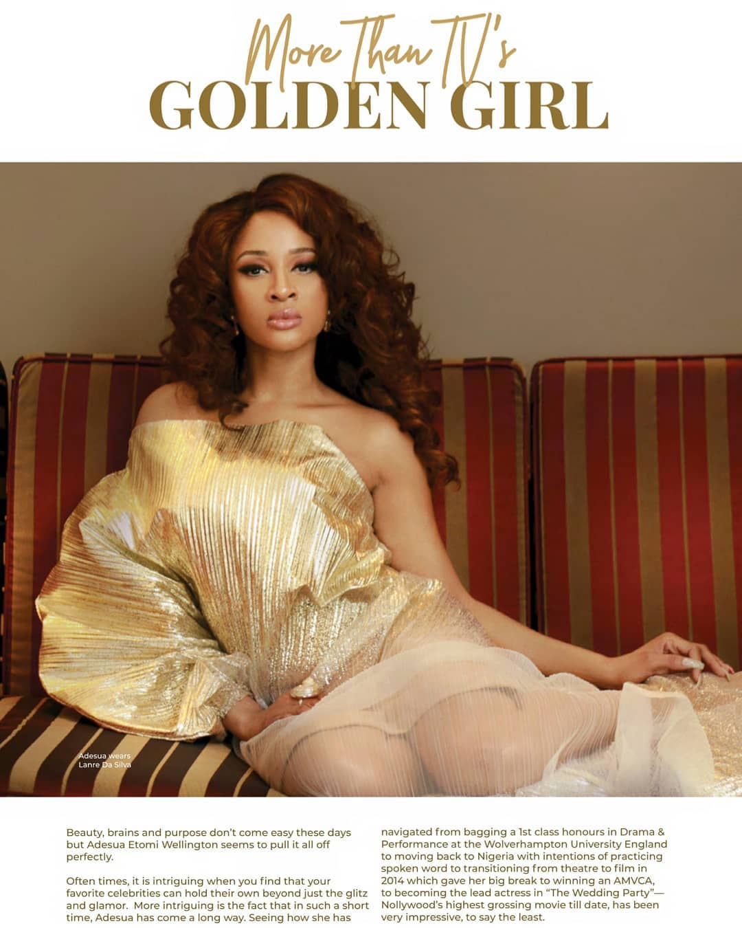 Adesua Etomi Stuns In Photoshoot For Fashion Weekend Magazine