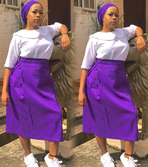 Alaafin Of Oyo's Youngest Wife, Queen Ola Visits Almamater Dressed In School Uniform