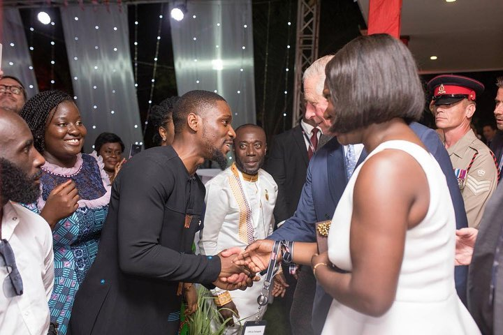photos:#BBNaija Tobi Bakre Is Extremely Excited To Meet Prince Charles In Ghana