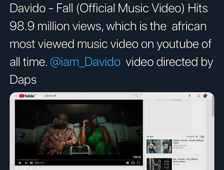 Davido Breaks ALL TIME Youtube Record as fall Video hits 989Million Views