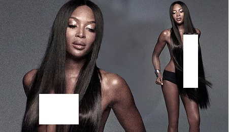 Naomi Campbell Goes Topless In Smouldering Photoshoot