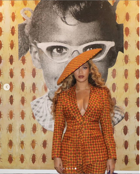 [PHOTOS] Beyonce Rocks Stylish Ankara Suit As She Attends Exhibition Opening With Jay-Z