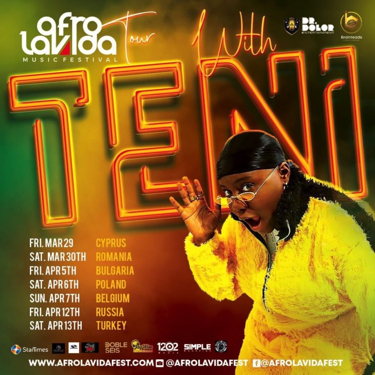Teni set to hit over 10Countries with Afrolavida Music Festival