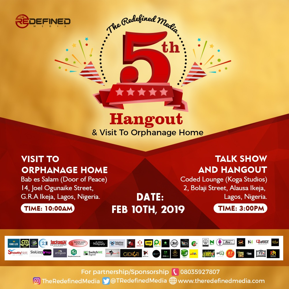 EVENT: The Redefined Media 5th Hangout & Visit to Orphanage This Sunday