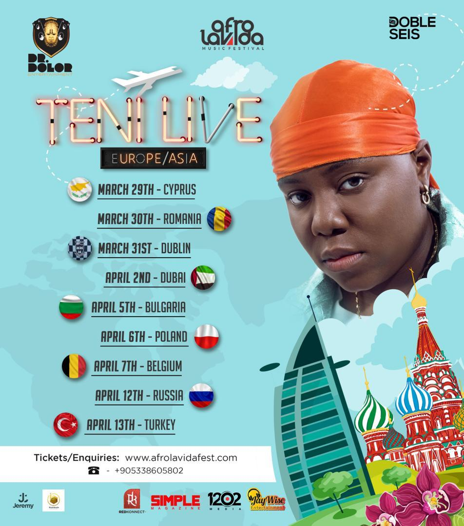 TENI ANNOUNCE DATES FOR HER EUROPE TOUR WITH AFROLAVIDA
