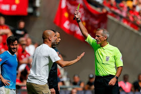 Pep Guardiola becomes first Premier League manager to be shown yellow card