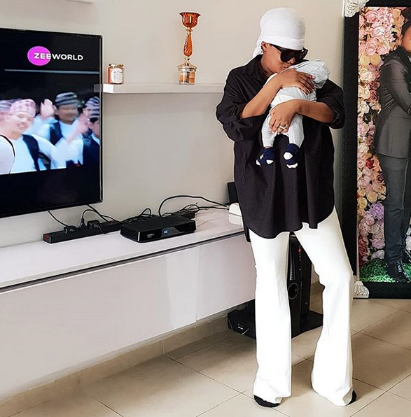 Toyin Abraham shows off her son and living room