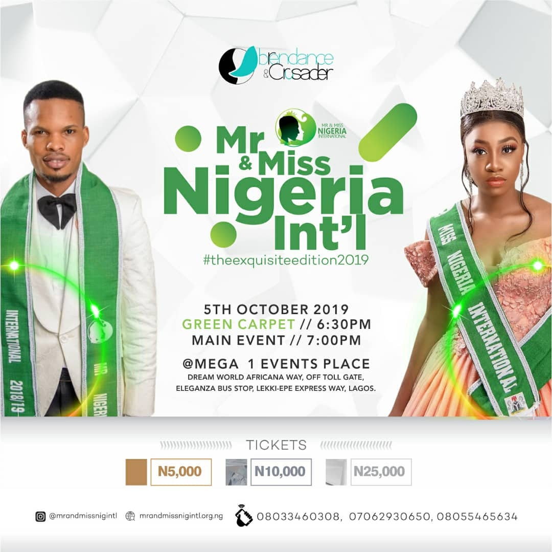 "Events: MR AND MISS NIGERIA INTERNATIONAL"" #theexquisteedition2019"