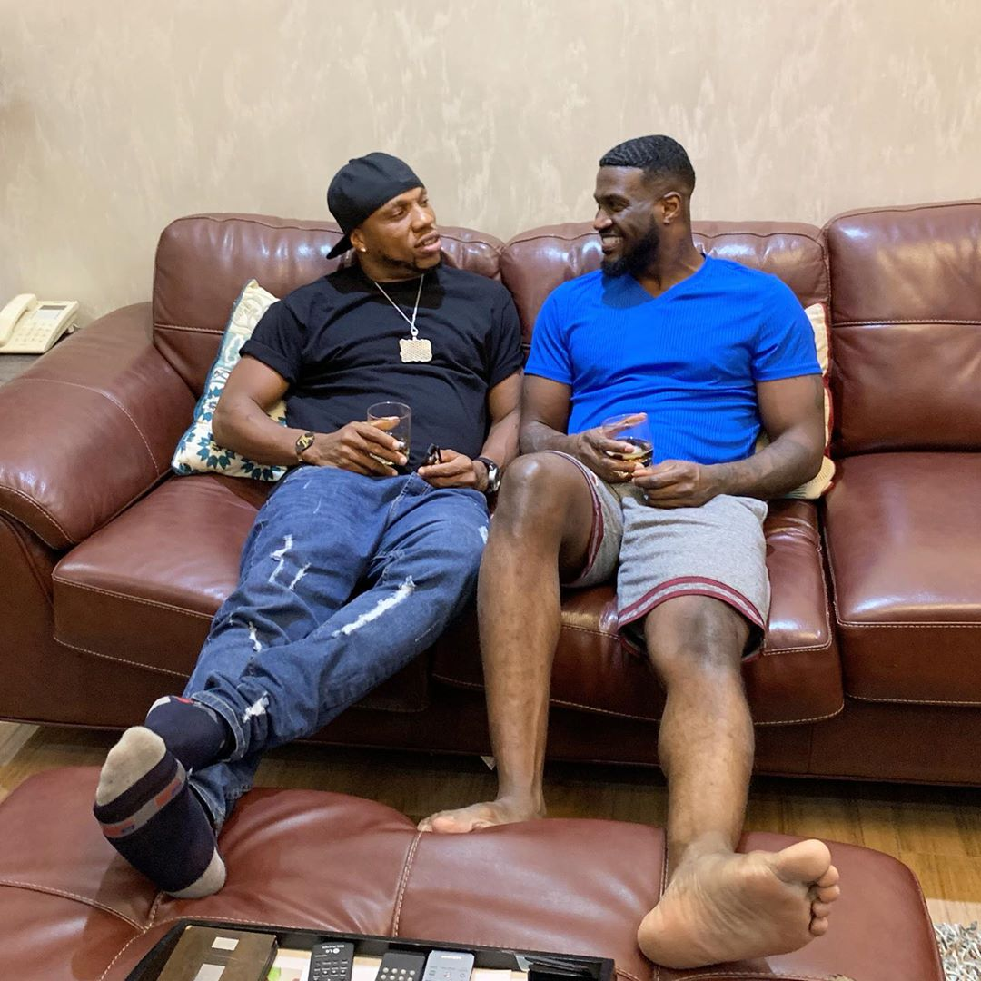 Charles Okocha and Peter Okoye record a comic video
