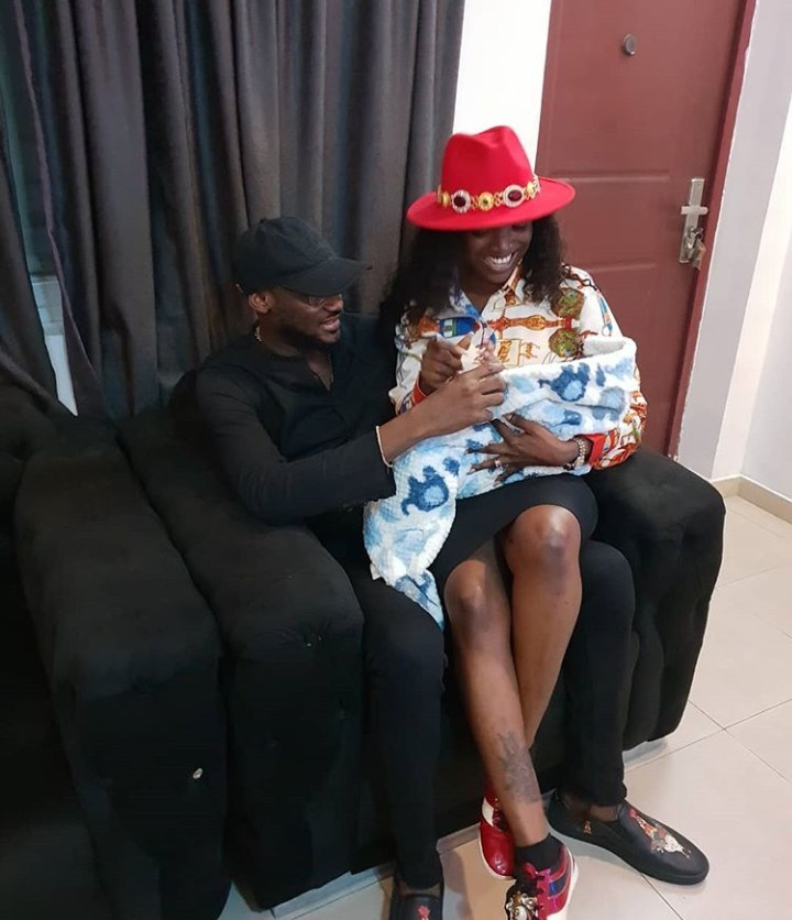 Photo of Annie Idibia sitting on Tuface's lap as they visit Toyin Abraham's child