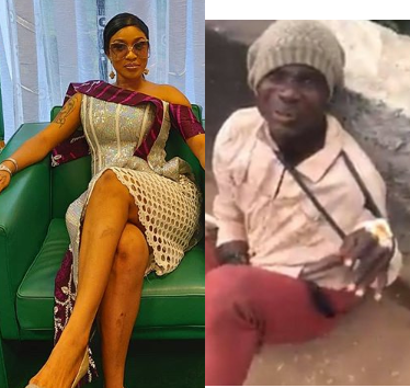 Tonto Dikeh condemns those filmed beating a fake beggar; blames the government for his condition