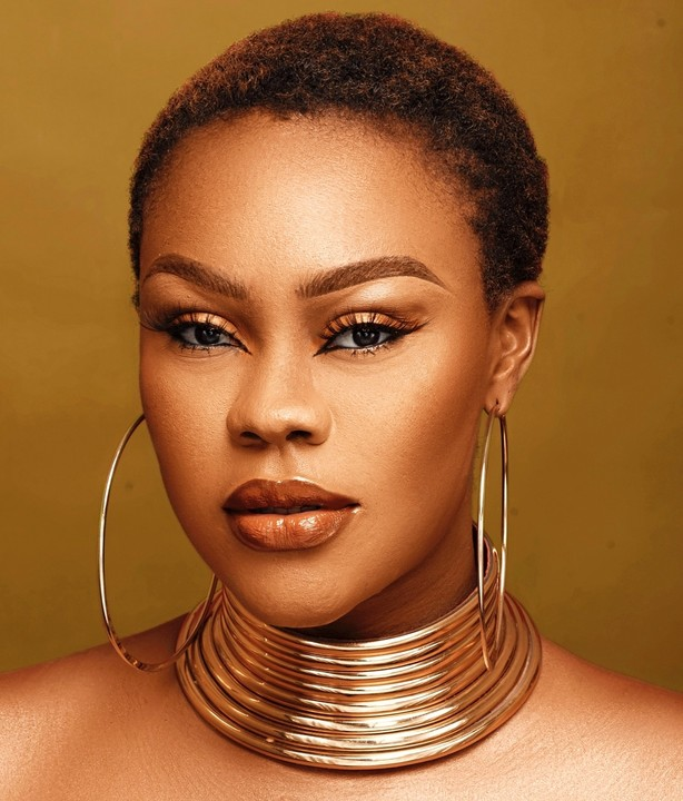 Daniella Okeke rocks low cut in new make up photos
