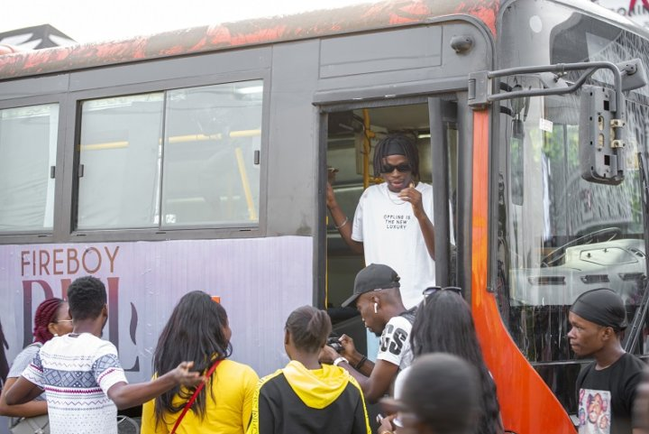Fireboy DML Treats Fans To An Exciting Bus Party Experience