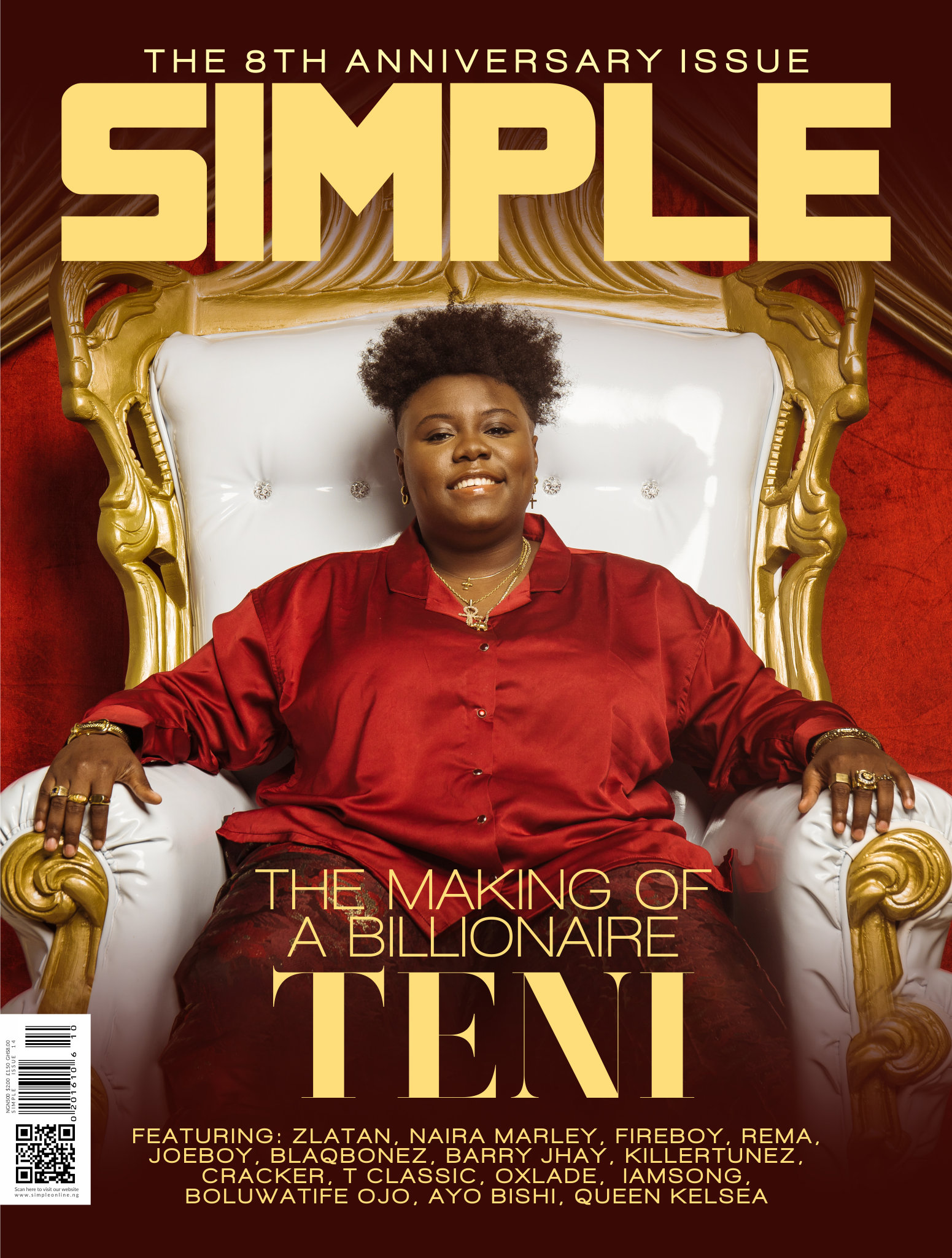 THE MAKING OF A BILLIONAIRE. TENI COVERS SIMPLE MAGAZINE 8TH ANNIVERSARY ISSUE