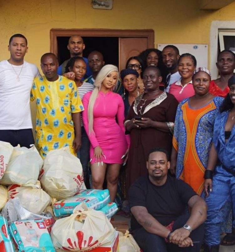 Cardi B visits Lekki motherless home with tons of gifts