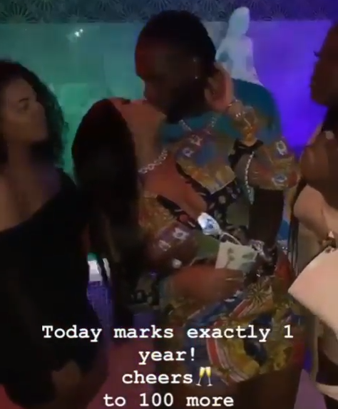 Burna Boy and Stefflon Don share a kiss as they celebrate their one year anniversary (video)