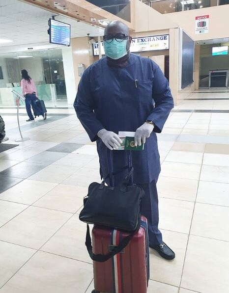 Photos: Dele Momodu wears a mask and gloves to Lagos Airport