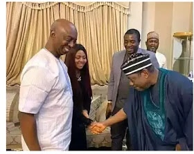 Ex- Governor, George Akume bows to greet Regina Daniels