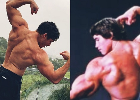 Arnold Schwarzenegger's son follows in his father's footsteps as he shows off muscular physique