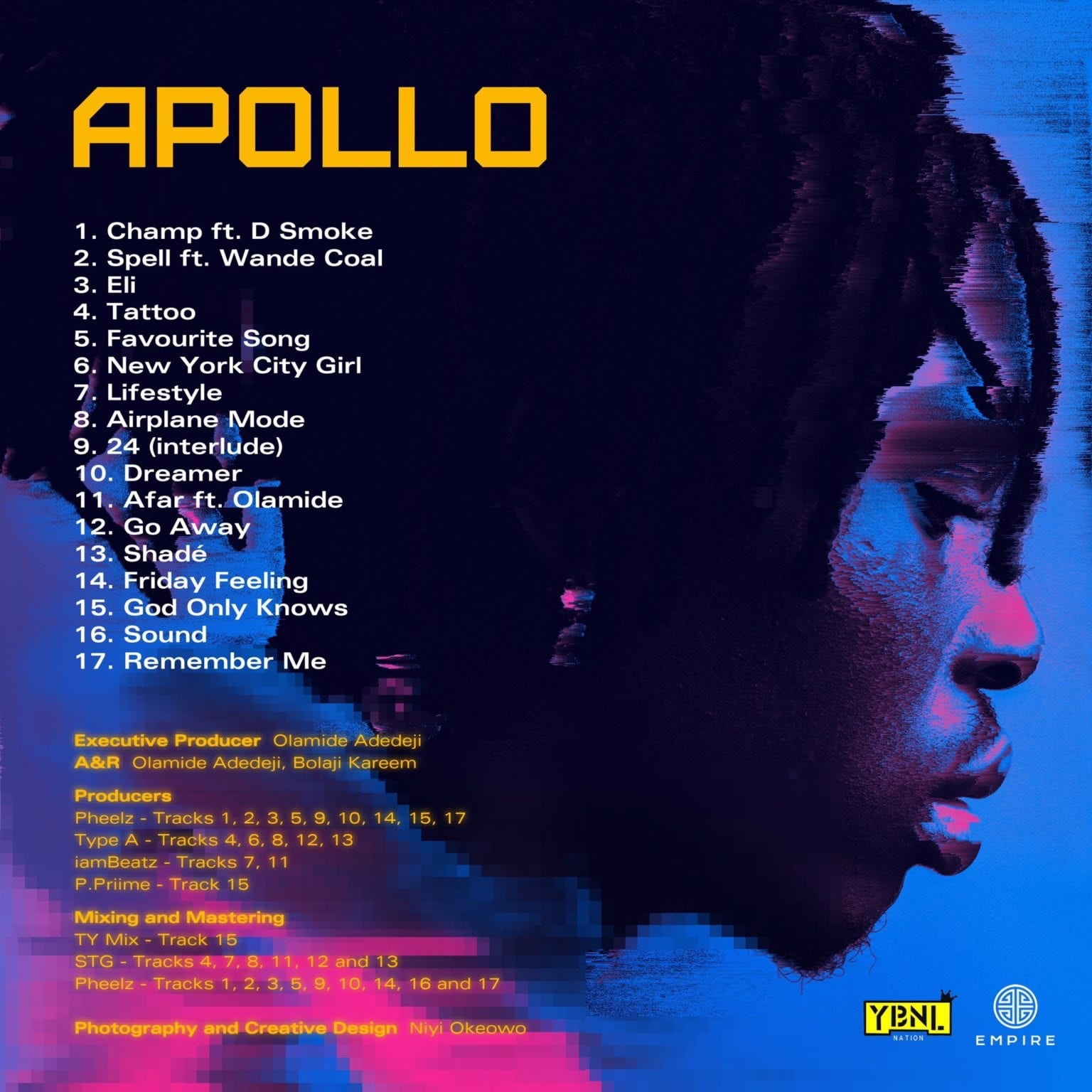 "Fireboy DML releases artwork and tracklist for his second studio album titled ""Apollo"""